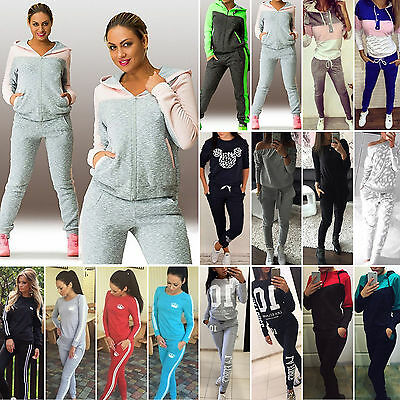 2Pcs Women Tracksuit Sweatshirt Track Pants Casual Jogging Sportswear Sweat Suit