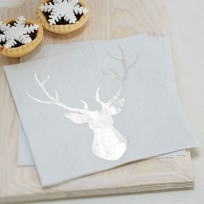 Silver Foiled Large Stag Christmas Paper Napkins x 20 Party