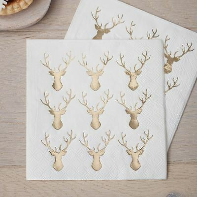 Mini Gold Foiled Stag Napkins x 20 Christmas Party 3ply 25cm square Festive