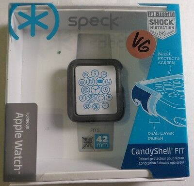 Speck - CandyShell Fit Hard Shell Case for 42mm Apple Watch™ - Black/Slate Gray