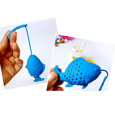 2016Fashion Silicone Fish Tea Leaf Strainer Infuser Herbal Spice Filter Diffuser
