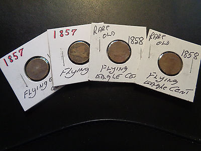 # 185- Four (4) Rare Old Flying Eagle Cents, 2 X 1857, 2 X 1858