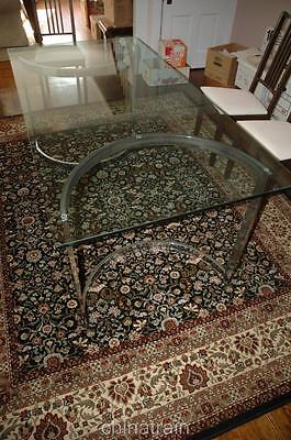 Vintage Glass & Chrome Dining Room Table 3x6'