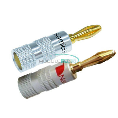 2pairs 4pcs 24K Gold Plated Nakamichi Speaker banana plug Audio Jack connector
