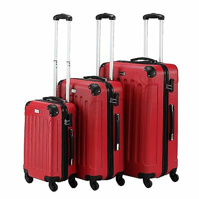 VonHaus Red 3-Piece Hard Case Shell Luggage Set made from ABS Suitcase 4 wheels