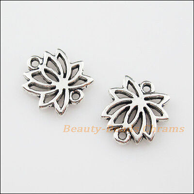 10Pcs Tibetan Silver Tone Lotus Flower Charms Pendants Connectors 14.5x16mm