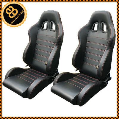 Pair JDM Style BB4 Reclining Tilting Universal Bucket Sports Seats Black / Red