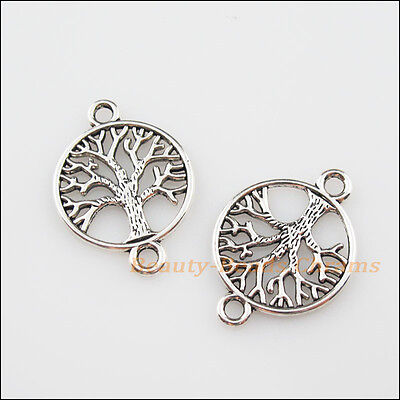 8Pcs Tibetan Silver Tone Round Tree Charms Pendants Connectors 20x28mm