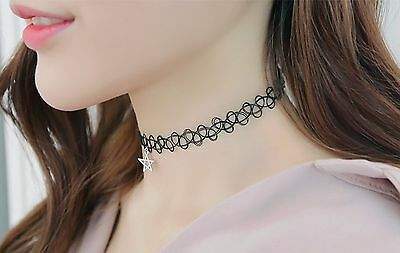 Lady Fashion Vintage Star Elastic Stretch Tattoo Choker Collar Necklace Clavicle