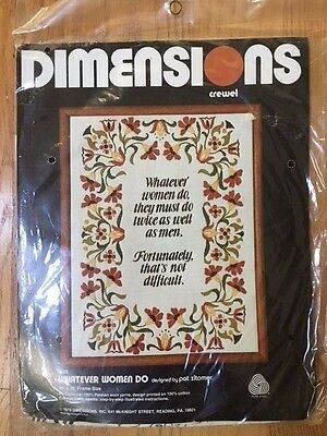 Vintage 1978 Dimensions 1123 Whatever Women Do Crewel Pat Zitomer Kit New Sealed