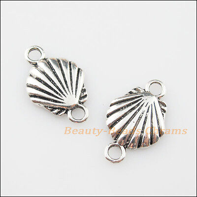 8Pcs Tibetan Silver Tone Sea Shell Charms Pendants Connectors 14x23mm