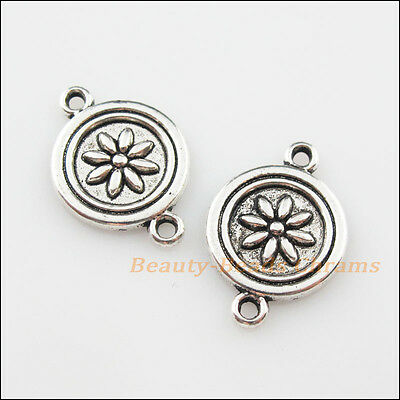 6Pcs Tibetan Silver Tone Round Flower Charms Pendants Connectors 15.5x23mm