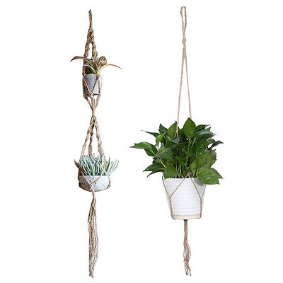 NEW Type Handcrafted Braided Macrame Jute Cord Plant Basket Pots Holder Hanging