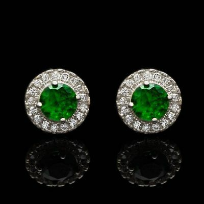 1Ct Emerald Round Created Diamond Halo Stud Earrings 14K White Gold