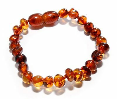 Genuine Baltic Amber Beads Baby Teething Anklet Bracelet Cognac