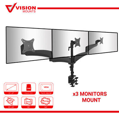 "Vision Mounts VM-LDE134 Triple Monitor Arm Desk Clamp Stand up to 27"" 8KG each"
