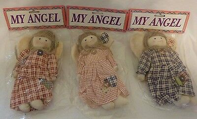 """Lot of 3 ~ Country Rag Dolls w Angel Wings ~ Approx 8"""" Tall ~ Wreath Craft Decor"""