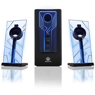 GOgroove BassPULSE Glowing Blue LED Computer Speaker Sound System - Works with