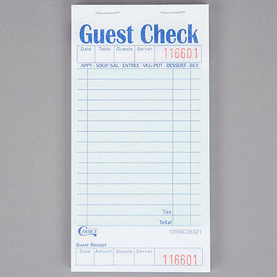 1 Part Green and White Guest Check with Bottom Guest Receipt - 50/Case