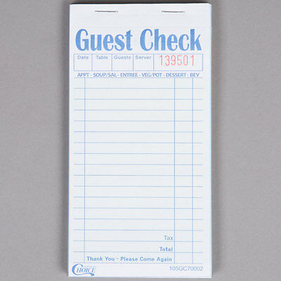 2 Part Green and White Carbonless Guest Check - 50/Case