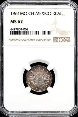 Republic Silver and Minors 1 Real 1861 Mo CH NGC MS62 KM372.8 26191