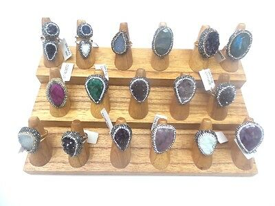 Natural Solid Wood Ring Display