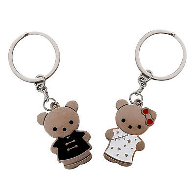 1 Pair Lovely Key Ring Chain Keychain Couple Lover Black+White