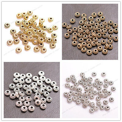 100Pcs Tibetan Silver/Bronze Roundelle Spacer Beads Jewelry Findings 6MM A3023