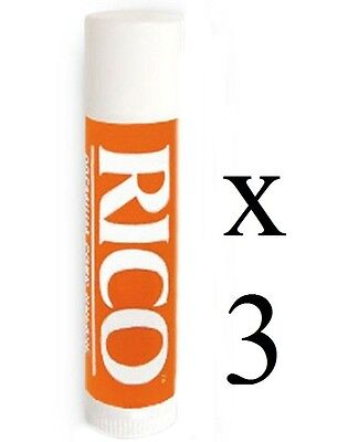 Rico Premium Cork Grease, 3 Tubes Lipstick Style For Woodwind Clarinet Saxophone