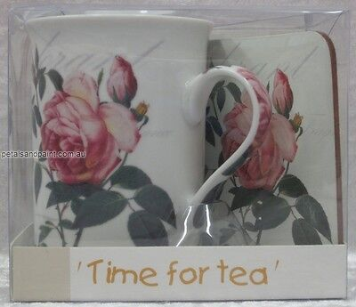 New Porcelain Coffee Mug & Matching Coaster with Pink Rose Time For Tea Gift Set