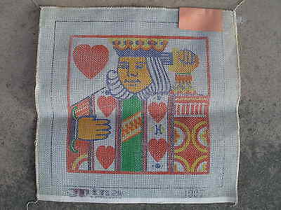 "Painted needlepoint canvas 15"" x15"" King of Heart by Nina of California Vintage"