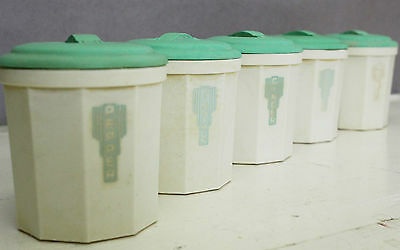 Iplex Green Cream Bakelite 5pc Spice Canister Set Canisters Kitchenalia Vintage