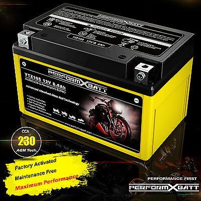 12V AGM Battery YTZ10S Yamaha YZF R6 R1 FZ8 MT 07 09 10 XP500 YFM350 SXR 700 900