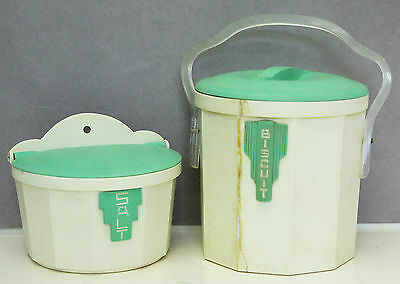 Iplex Green Cream Bakelite Salt Box Biscuit Barrel Canisters Kitchenalia Vintage