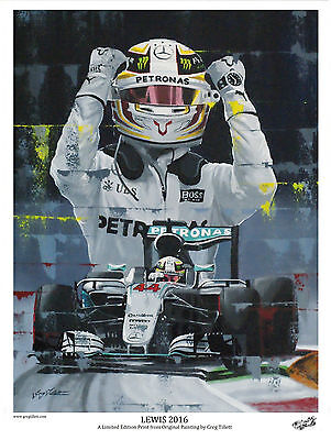 LEWIS HAMILTON 2016 Large A3 limited edition print by Greg Tillett. FORMULA ONE