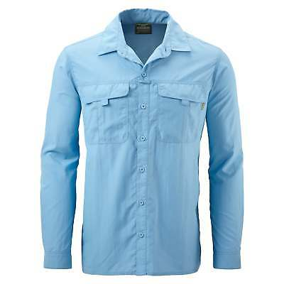 Kathmandu Kangsar Mens Long Sleeve Button Down Shirt Travel Hiking Top v4 Blue