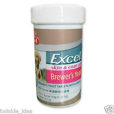 Excel Brewer's Yeast Skin & Coat Care omega3 Supplements 140 pill Dogs Cats 8in1