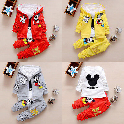 3Pcs Mickey Kids Boys Girls Hooded Coat T Shirt Tracksuit Top+Jogger Outfits Set