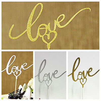 Love Pattern Cake Topper Sparkle Glitter Gold Wedding Decorating Party