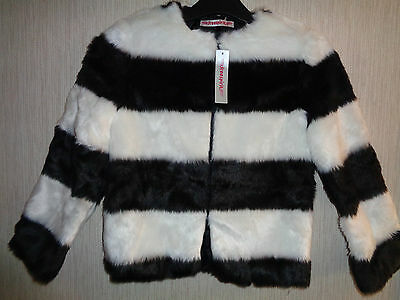 BNWT Girls Age 9-10 Black & White Fur Styled Fully Lined Jacket RRP £45