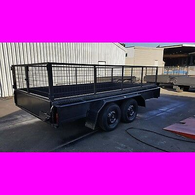 12x6 TANDEM TRAILER WITH CAGE 2000KG ONE PIECE FOLD FULL 2.5MM CHECKER PLATE