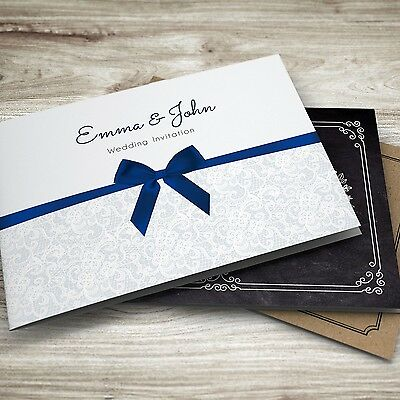 Personalised Folded Wedding Evening or Day Invitations + Envelopes