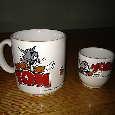 Vintage RARE Collectable TOM & JERRY Mug / Cup & Egg Cup 1991 by Turner Ent.
