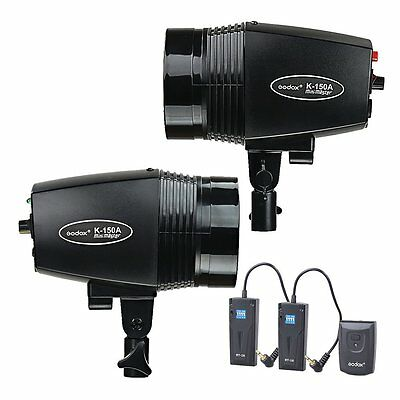 2X Godox K-150A 150w Studio Strobe Flash Light  Head + RT-16 Radio Trigger Kit