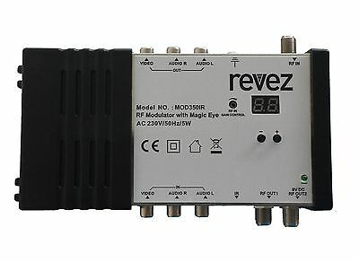Revez MOD350IR Tri-Link RF Modulator with Magic Eye for Satellite, Terrestrial,