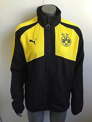 Puma Mens BVB Dortmund 2016/17 Casual Woven Jacket - Medium - Black - BNWT