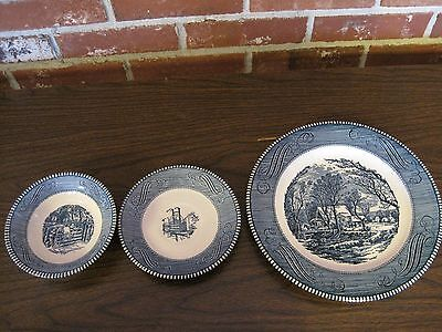 Vintage Currier And Ives Blue And White Dinner Plate, Saucer And Small Bowl
