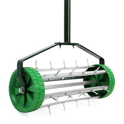 New Heavy Duty Garden Lawn Roller Aerator - Steel Spikes