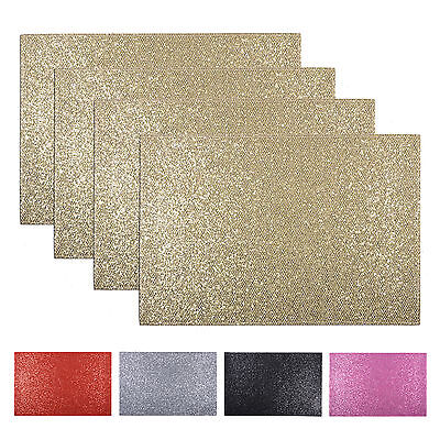 Set Of 4 Glitter Place Mats Protective Dinner Dining Table Placemats Tableware