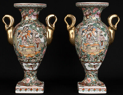 China 20. Jh. Vasen Im Canton Stil - A Pair Of Chinese Vases - Cinese Chinois